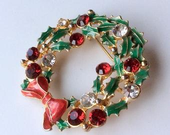 OTC Christmas Rhinestone Wreath Brooch