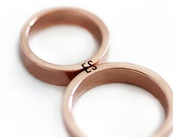 Unique couple ring set, Initials ring set, Rose gold wedding ring set, Matching wedding bands, Promise ring, Mens wedding band, Wedding band