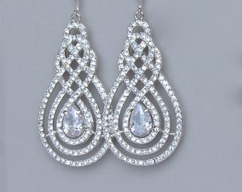 Crystal Chandelier Earrings, Pavè Earrings, Crystal Bridal Earrings, Bridal Jewelry, Crystal Wedding Jewelry, SWIRL Silver