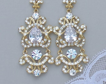 GOLD Chandelier Earrings, Vintage Gold Bridal Earrings, Gold Bridal Jewelry, Wedding Jewelry LONDON G