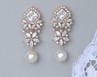 Rose Gold Crystal Earrings, Crystal Chandelier Earrings, Rose Gold Pearl Drop Earrings, Bridal Jewelry, LISA R