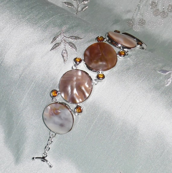 """CLEARANCE, Natural Mother of Pearl Shell, Citrine gemstone, solid sterling silver Bracelet 184 cts 8 1/4"""""""