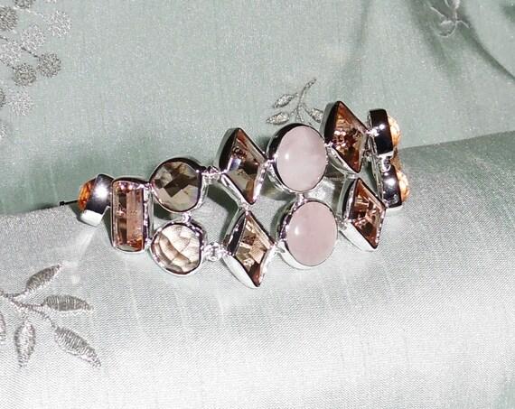 """CLEARANCE, Natural Citrine, Rose Quartz gemstone, solid sterling silver Bracelet 209 cts 8"""" long"""