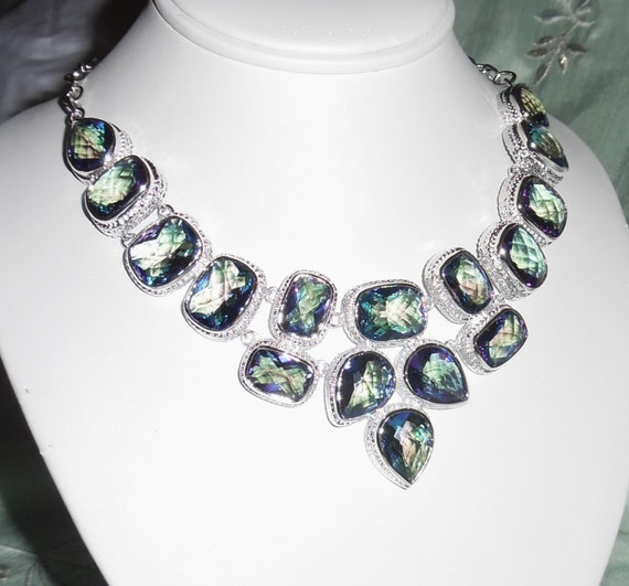 "CLEARANCE, Natural Rainbow Topaz Quartz, SOLID Sterling Silver Necklace , 91 grams, 22"" adjustable"