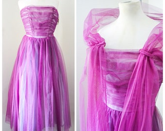 1950s 60s Violet ruched tulle strapless formal dress with shawl, Beautime label - XS