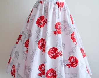 Rose print white & red cotton full skirt / 1950s style - L XL
