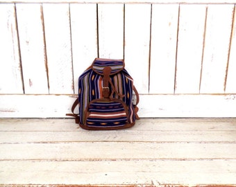 Vintage Guatemalan colorful woven backpack/tribal print bag/Aztec print woven leather trim drawstring pack/tote/napsack