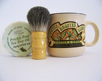 Prickly Pear Tea Tree Oil Shaving Soap in Large Mug with Badger Shave Brush