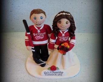 Wedding Cake Topper, Custom Wedding Topper, Bride and Groom, Sports, Hockey, Personalized, Polymer Clay, Keepsake