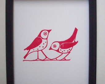 Prints--The Red Bird Couple