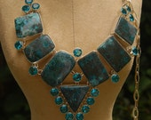 Copper turquoise with sky blue topaz statement necklace 925 sterling overlay