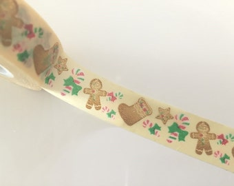 Festive Gingerbread man - Washi tape - 15 meters WT799 thick roll