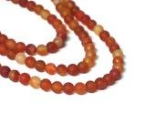6mm Matte Carnelian round gemstone beads, full strand (1147s)