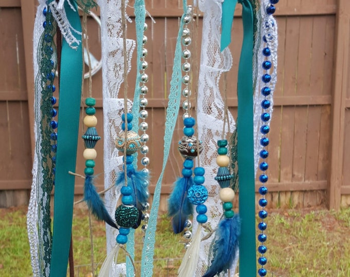 Small Custom Turquoise Owl Dream Catcher Beads Feathers Lace Hemp