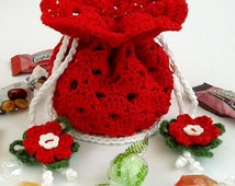 Christmas pouch crochet pattern - Pouch bag crochet pattern! Permission to sell finished items. Pattern No. 152