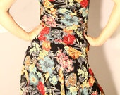Vintage Fall Beaded Connected Apparel Floral Chiffon Dress