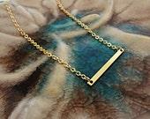 Gold Bar Necklace. Sideways Skinny Bar Pendant. Modern Minimal Jewelry. Minimalist Jewelry. Simple Gold Layering Necklace