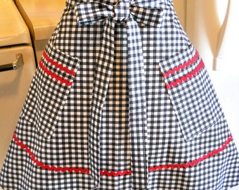 Womens Vintage Style Half Apron in Black Gingham Checks MADE TO ORDER