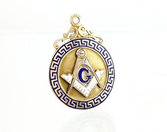 Masonic 10K Pendant Charm Fob -  Art Deco