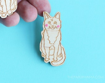 Handpainted Kitty Pin - Brooch