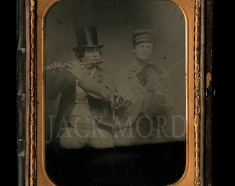 Rare Large Ambrotype of Musicians ~ Famous ROOT's Gallery Philadelphia