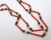 "Deco Flapper Necklace glass tubes & brass necklace - Coral and pink - 52"" around - Bohemian"