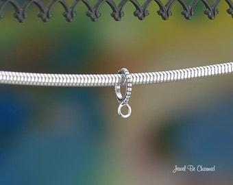 Narrow Beaded Sterling Silver Large Hole Bead Converter European Charm