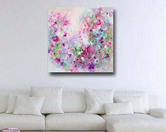 Pink Floral Canvas Print, Floral Giclee Print, Wall Art, Abstract Floral Canvas Print, Expressive Art, Large Floral Canvas, Floral Painting