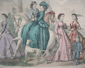 1800s Etching Mme. Demorest's Mirror of Fashions - Lovely Vintage Reprint of Fashion Plate from Demorest's Monthly Magazine 1850s-1870s