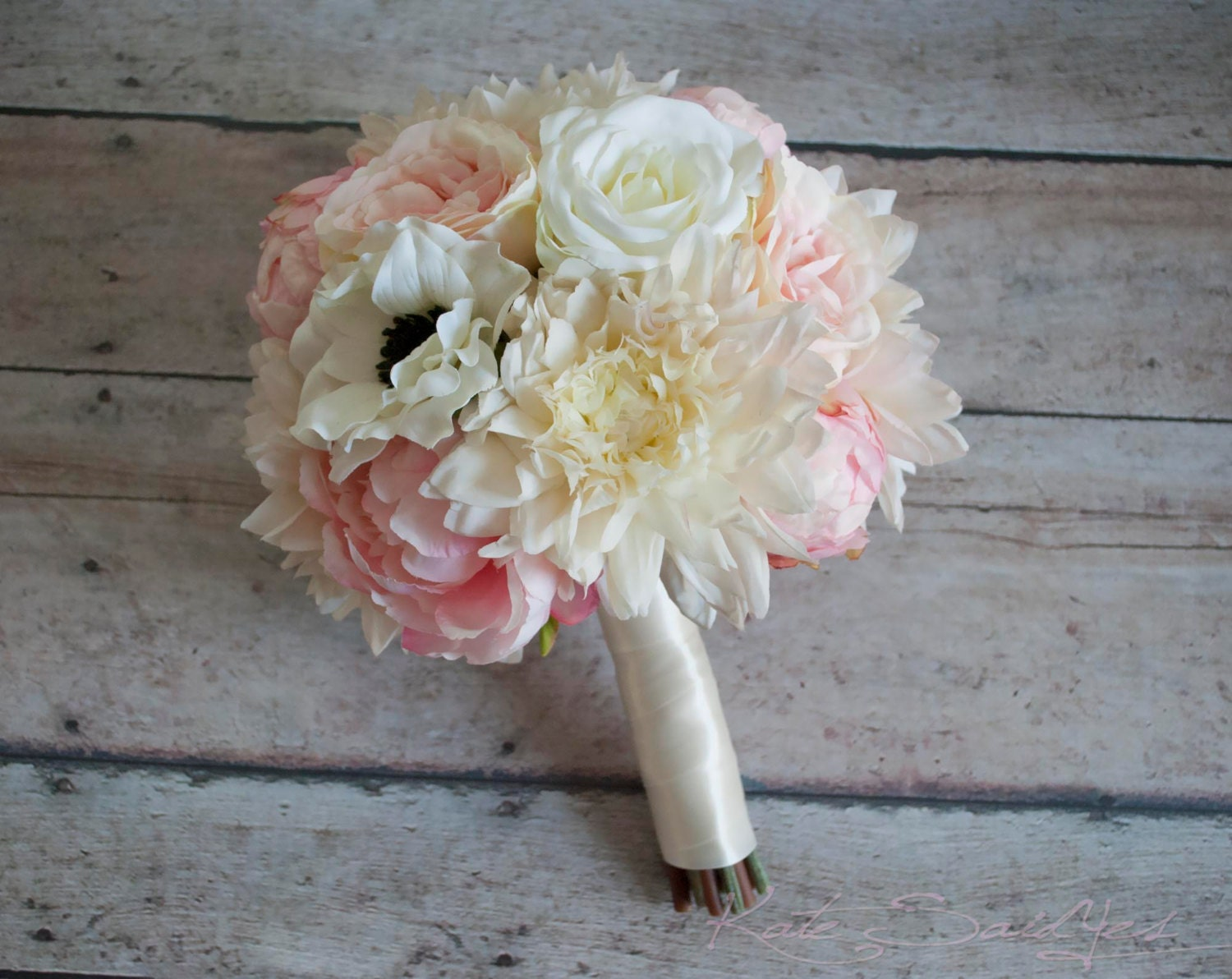 Blush Pink and Ivory Peony Rose and Dahlia Wedding Bouquet