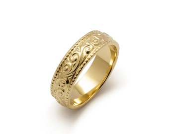 Art Nouveau Millgrain Scrolls Wedding Ring in Yellow Gold