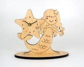 Mermaid Clock Kids Shelf Clock Ocean Nursery