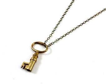 Skeleton Key Necklace, Tiny Key Pendant, Steampunk Necklace