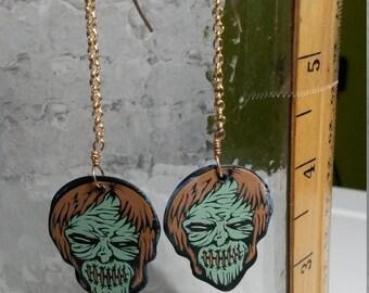 Green Zombie guitar pick earrings