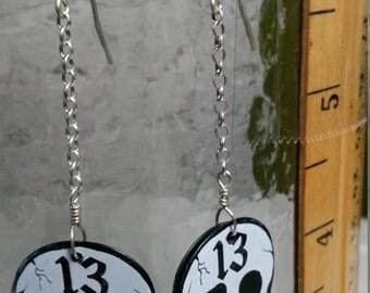 Unlucky 13 Skull dangle guitar pick earrings