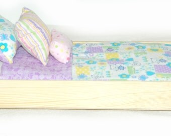 Single Doll Bed - Cute Kittens American Made Girl Doll Bed - Fits AG Doll and 18 inch dolls