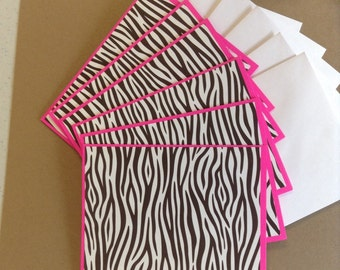 Zebra Note Cards, Zebra Cards, Zebra Stripes Cards, Pink Zebra Stripe Cards, Birthday Cards, 6 Cards and Envelopes