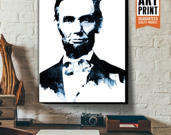 President, Abraham Lincoln, Canvas, Art Print, Portrait, Americana Decor, Patriotic, Classroom Decor, Poster size, Canvas Art Print