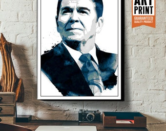 Canvas art print of Ronald Reagan, American President, available in poster size, 18x24, 24x36, 36x48