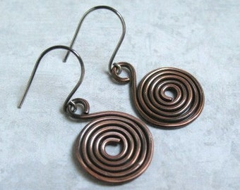 Copper Earrings Spiral Copper Dangles Handmade Copper Jewelry