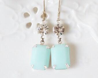 Mint Green Alabaster Swarovski Rhinestone Drop Dangle Earrings - Wedding, Bridal, Bridesmaid