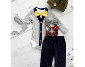 Newborn Baby Boy Coming Home Outfit Set up to 4 Items. Cardigan Bodysuit, Bow Tie Bodysuit, Navy Blue Pants & Knit Newsboy Hat. Valentine's