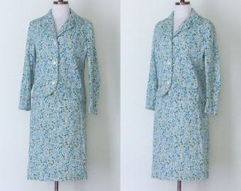 1960s Jeune Ligue by Cherberg floral suit / vintage early 60s broadcloth printed jacket and skirt | XS