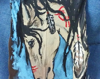 Dancing Thunder Native American Horse Feather Painting