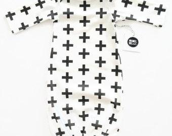 Black Cross Baby Sleeper Gown Monochrome Newborn Unisex
