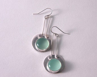 Aqua Chalcedony and sterling silver earrings