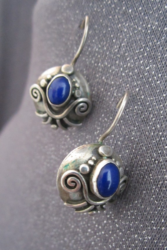 Blue Lapis Sterling Silver Earrings, gemstone, blue stone earrings,