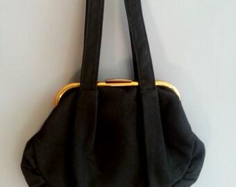 1930s black wool purse, 1930s purse, brass frame purse, vintage frame purse, 30s purse, wool felt purse, 1930s handbag, black wool purse