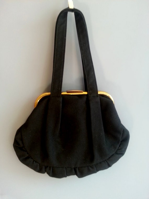 Retro Handbags, Purses, Wallets, Bags 1930s black wool purse 1930s purse brass frame purse vintage frame purse 30s purse wool felt purse 1930s handbag black wool purse $45.99 AT vintagedancer.com