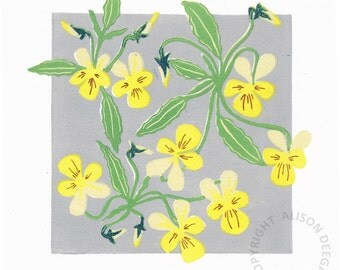ROSSBEIGH DUNE VIOLAS lino print dune flora eire ireland kerry yellow pansy